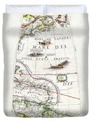 1688 Coronelli Globe Gore Map Of Ne North America The West Indies And Ne South America Geographicus  Duvet Cover
