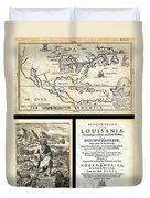 1688 Hennepin First Book And Map Of North America First Printed Map To Name Louisiana Geographicus N Duvet Cover