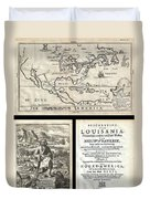 1688 Hennepin First Book And Map Of North America Duvet Cover