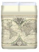 1691 Sanson Map Of The World On Hemisphere Projection Duvet Cover by Paul Fearn
