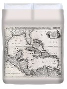 1696 Danckerts Map Of Florida The West Indies And The Caribbean Duvet Cover
