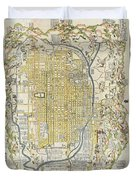 1696 Genroku 9 Early Edo  Japanese Map Of Kyoto Japan Geographicus Kyoto Genroku9 1696 Duvet Cover