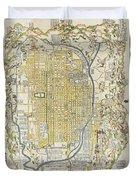 1696 Genroku 9 Early Edo Japanese Map Of Kyoto Japan Duvet Cover