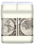 1696 Zahn Map Of The World In Two Hemispheres Geographicus World Zahn 1696 Duvet Cover