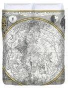 1700 Celestial Planisphere Duvet Cover