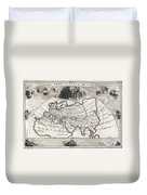 1700 Cellarius Map Of Asia Europe And Africa According To Strabo Duvet Cover
