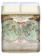 1707 Homann And Doppelmayr Map Of The Moon Geographicus Tabulaselenographicamoon Doppelmayr 1707 Duvet Cover