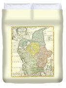 1710 Homann Map Of Denmark Duvet Cover