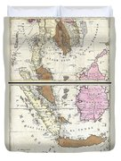 1710 Ottens Map Of Southeast Asia Singapore Thailand Siam Malaysia Sumatra Borneo Duvet Cover
