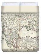 1715 De  Lisle Map Of The Eastern Roman Empire Under Constantine  Duvet Cover