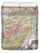1716 Homann Map Of Burgundy France Geographicus Burgundiae Homan 1716 Duvet Cover