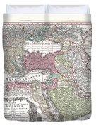1730 Seutter Map Of Turkey Ottoman Empire Persia And Arabia Duvet Cover