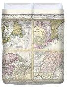 1737 Homann Heirs Map Of New England Georgia And Carolina And Virginia And Maryland Duvet Cover