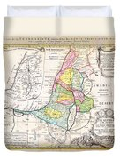 1750 Homann Heirs Map Of Israel Palestine Holy Land 12 Tribes Geographicus Palestina Homannheirs 175 Duvet Cover
