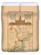 1752  Scull  Heap Map Of Philadelphia And Environs Duvet Cover