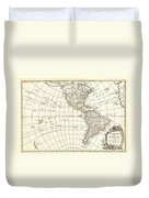 1762 Janvier Map Of North America And South America  Duvet Cover