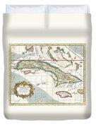 1763 Terreni  Coltellini Map Of Cuba And Jamaica Duvet Cover