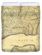 1776 New York City Map Duvet Cover