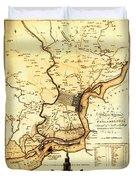 1777 Philadelphia Map Duvet Cover