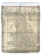 1790 Faden Map Of The Roads Of Great Britain Or England Duvet Cover