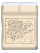 1799 Clement Cruttwell Map Of Spain And Portugal Duvet Cover