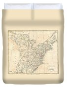 1799 Cruttwell Map Of The United States Of America Duvet Cover