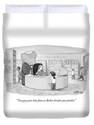 You Pay Your Late Fines Or Babar Breaks Duvet Cover by Harry Bliss