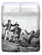 1800s Three 19th Century Men In Boat Duvet Cover