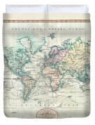 1801 Cary Map Of The World On Mercator Projection Duvet Cover