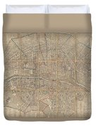 1802 Chez Jean Map Of Paris In 12 Municipalities France Duvet Cover
