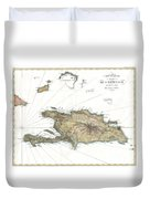 1802 Tardieu Map Of Santo Domingo Or Hispaniola West Indies Duvet Cover