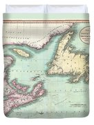 1807 Cary Map Of Nova Scotia And Newfoundland Duvet Cover