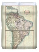 1807 Cary Map Of South America Duvet Cover