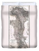 1814 Rizzi Zannoni Map Of Italy Duvet Cover