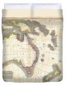 1814 Thomson Map Of Australia New Zealand And New Guinea Duvet Cover