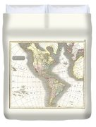 1814 Thomson Map Of North And South America Duvet Cover