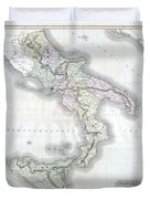 1814 Thomson Map Of Southern Italy Duvet Cover