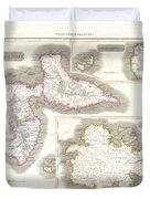 1815 Thomson Map Of Guadaloupe Antigua Marie Galante  West Indies Duvet Cover