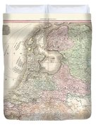 1818 Pinkerton Map Of Holland Or The Netherlands Duvet Cover