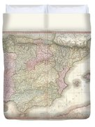 1818 Pinkerton Map Of Spain And Portugal Duvet Cover