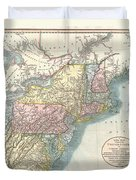 1821 Cary Map Of New England New York Pennsylvania And Virginia Duvet Cover
