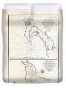 1825 Victoria Map Of San Diego California And San Blas Mexico  Duvet Cover