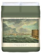 1825 Wall And Hill View Of New York City From The Hudson River Port Folio Duvet Cover