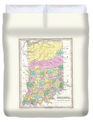 1827 Finley Map Of Indiana Duvet Cover
