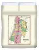 1827 Finley Map Of Israel  Palestine Holy Land Duvet Cover