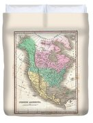 1827 Finley Map Of North America Duvet Cover