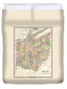 1827 Finley Map Of Ohio Duvet Cover