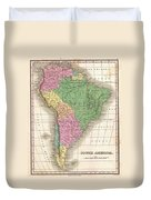 1827 Finley Map Of South America Duvet Cover
