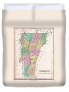 1827 Finley Map Of Vermont Duvet Cover