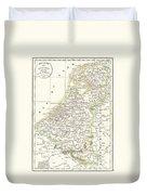 1832 Delamarche Map Of Holland And Belgium Duvet Cover